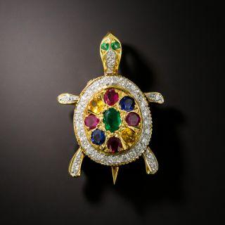 Estate Multi-Gem and Diamond Turtle Brooch - 2