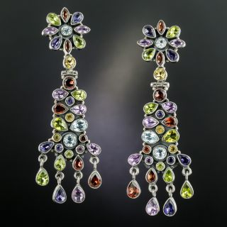 Estate Multi-Gemstone Drop Earrings - 2