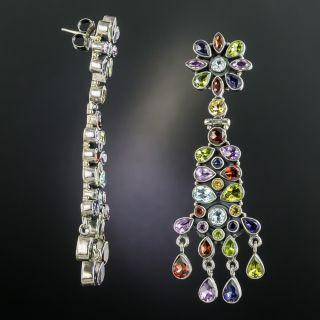 Estate Multi-Gemstone Drop Earrings
