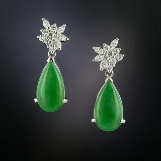 Estate Natural Burmese Jade and Diamond Earrings - 2