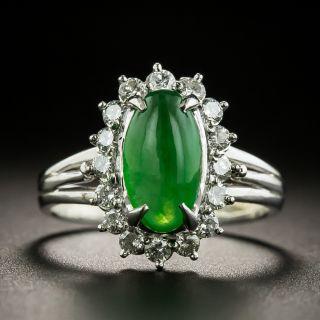 Estate Natural Burmese Jade and Diamond Halo Ring - 1