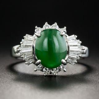 Estate Natural Burmese .50 Carat Jade Cabochon and Diamond Ring  - 1