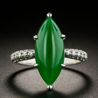 Estate Natural Burmese Marquise Jade and Diamond Ring - 1