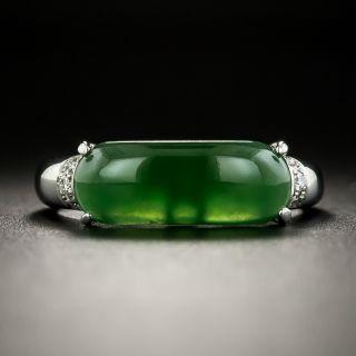 Estate Natural Burmese Saddle Jade Ring - 2