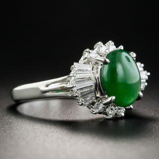 Estate Natural Burmese Jade Cabochon and Diamond Ring