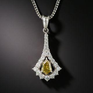 Estate Natural Colored Diamond Platinum Pendant Necklace - 2