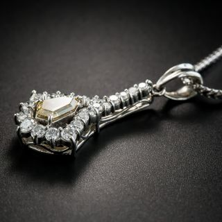 Estate Natural Colored Diamond Platinum Pendant Necklace