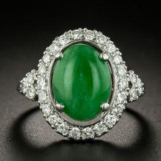 Estate Natural Jade and Diamond Halo Ring - 2