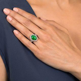 Estate Natural Jade and Diamond Halo Ring