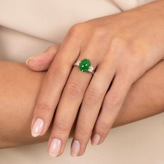 Estate Natural Jade and Diamond Ring