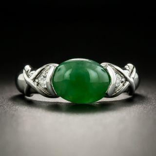 Estate Natural Jade and Diamond Ring - 1