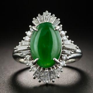 Estate 2.40 Carat Natural Jade Cabochon and Diamond Ring - 1