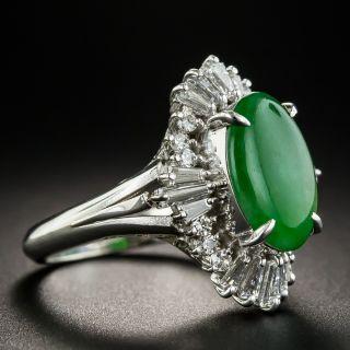 Estate Natural Jade Cabochon and Diamond Ring