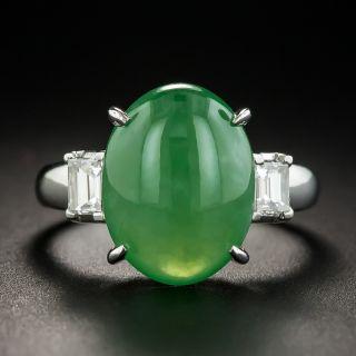 Estate Natural Jade Cabochon and Diamond Ring - 1