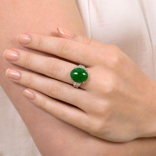 Estate 7.98 Carat Natural Jade and Diamond Ring