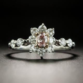 Estate Natural Pink .15 Carat Oval-Cut Diamond Halo Ring - 2