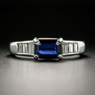 Estate No-Heat 1.02 Carat Emerald-Cut Sapphire and Diamond Ring - 2