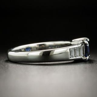 Estate No-Heat 1.02 Carat Emerald-Cut Sapphire and Diamond Ring