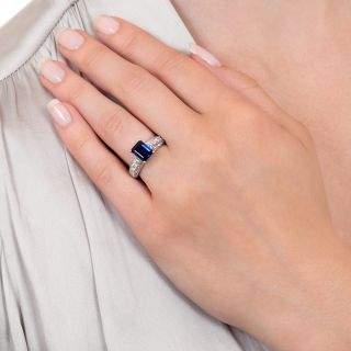 Estate No-Heat 2.00 Carat Emerald-Cut Sapphire and Diamond Ring