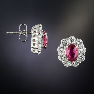 Estate No-Heat Ruby Diamond Platinum Earrings