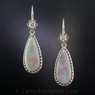 Estate Opal and Diamond Drop Earrings - 2