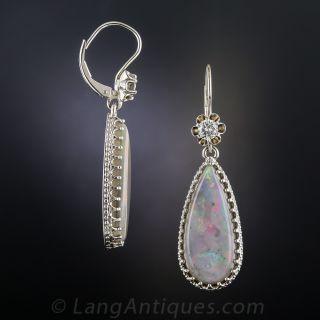 Estate Opal and Diamond Drop Earrings