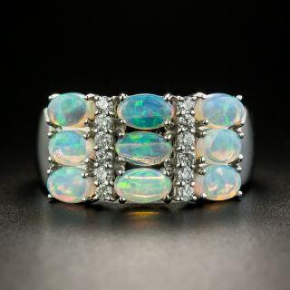 Estate Opal and Diamond Three Row Band Ring - 2