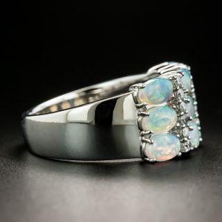 Estate Opal and Diamond Three Row Band Ring
