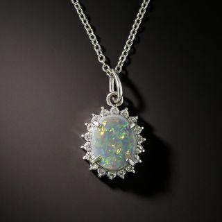 Estate Opal Cabochon and Diamond Pendant - 2