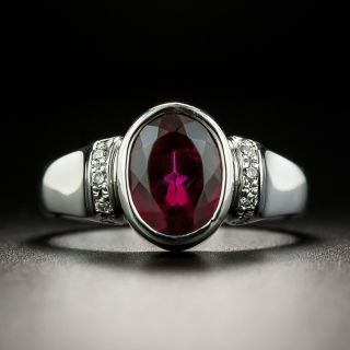 Estate Oval-Cut Red Tourmaline and Diamond Ring - 2
