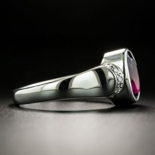 Estate Oval-Cut Red Tourmaline and Diamond Ring