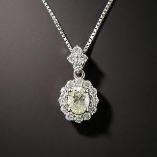 Estate Oval Diamond Platinum Drop Necklace - 2