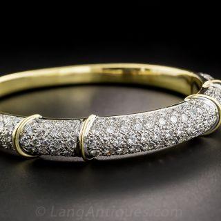 Estate Pave Diamond Bangle Bracelet