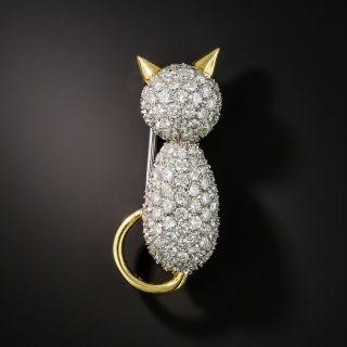 Estate Pavé Diamond Cat Pin - 2