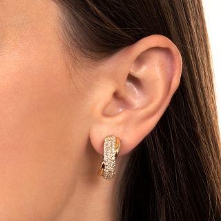 Estate Pavé Diamond Twist Hoop Earrings
