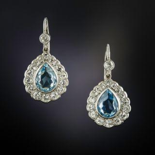 Estate Pear-Cut Aquamarine and Diamond Dangle Earrings - 1