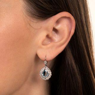 Estate Pear-Cut Aquamarine and Diamond Dangle Earrings