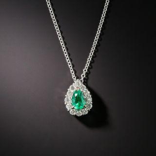 Estate Pear Shape Emerald Diamond Pendant Necklace - 4