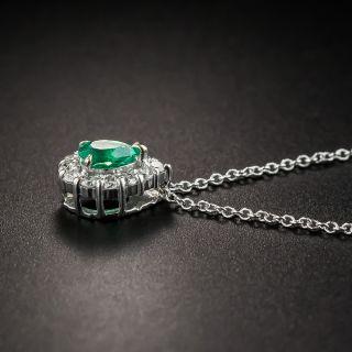 Estate Pear Shape Emerald Diamond Pendant Necklace