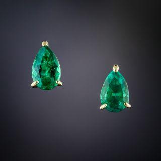Estate Pear Shape Emerald Studs - 1