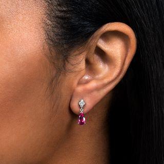 Estate Pear-Shaped Pink Tourmaline and Diamond Earrings