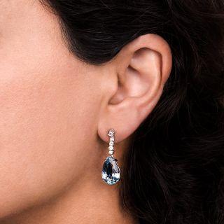 Estate Pear-Shaped Aquamarine and Diamond Drop Earrings