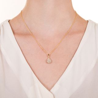 Estate Pear-Shaped Diamond Cluster Pendant
