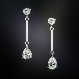 Estate Pear Shaped Diamond Dangle Earrings - 3