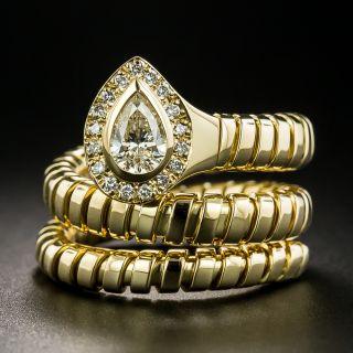 Estate Pear-Shaped Diamond Snake Ring - 2