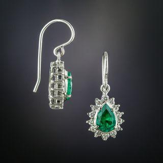 Estate Pear Shaped Emerald and Diamond Dangle Earrings - 2
