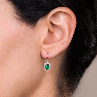 Estate Pear Shaped Emerald and Diamond Dangle Earrings