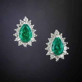Estate Pear-Shaped Emerald and Diamond Earrings - 2