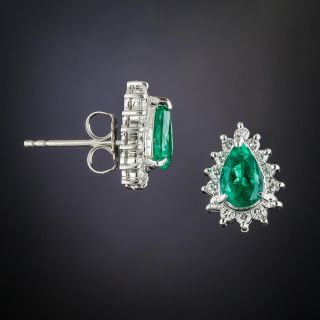 Estate Pear-Shaped Emerald and Diamond Earrings