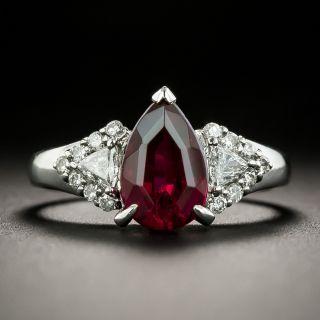 Estate Pear-Shaped Rubellite Tourmaline and Diamond Ring - 1